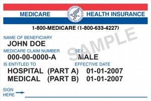 A sample Medicare card.
